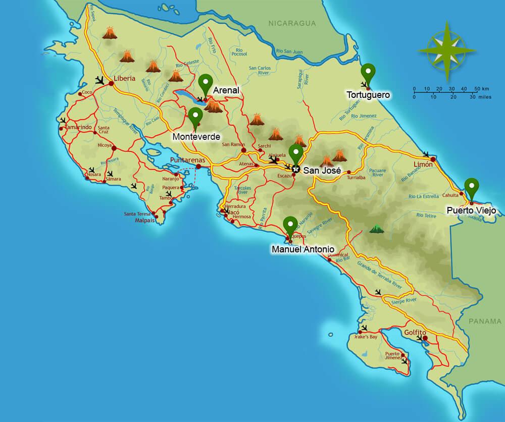 plattegrond-11-daagse-rondreis-costa-rica